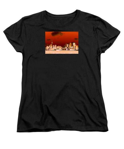 Women's T-Shirt (Standard Cut) featuring the photograph Toronto Red Skyline by Valentino Visentini