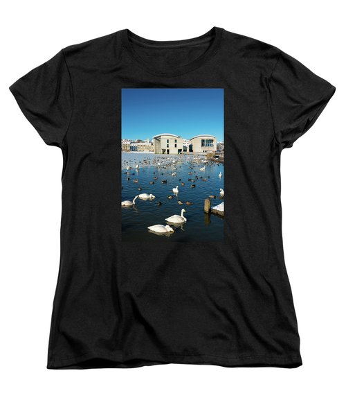 Women's T-Shirt (Standard Cut) featuring the photograph Town Hall And Swans In Reykjavik Iceland by Matthias Hauser