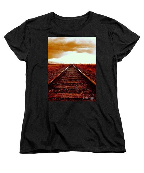 Marfa Texas America Southwest Tracks To California Women's T-Shirt (Standard Cut) by Michael Hoard