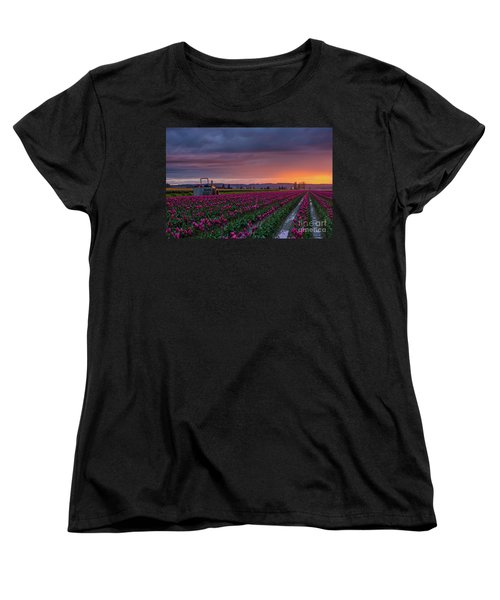 Women's T-Shirt (Standard Cut) featuring the photograph Tractor Waits For Morning by Mike Reid