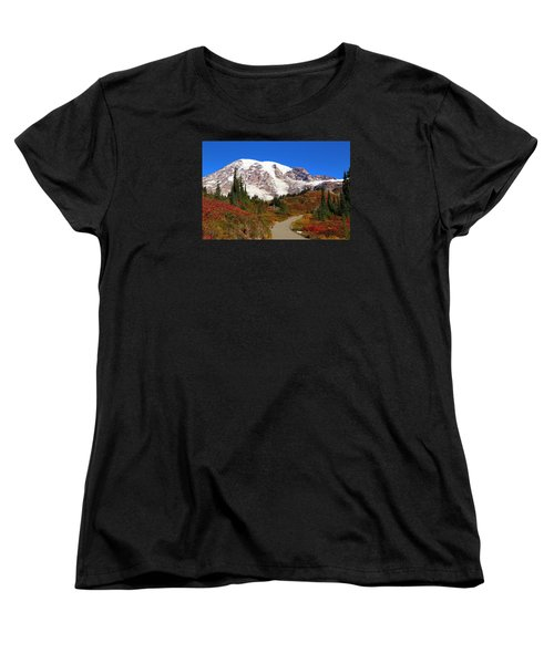Women's T-Shirt (Standard Cut) featuring the photograph Trail To Myrtle Falls 2 by Lynn Hopwood