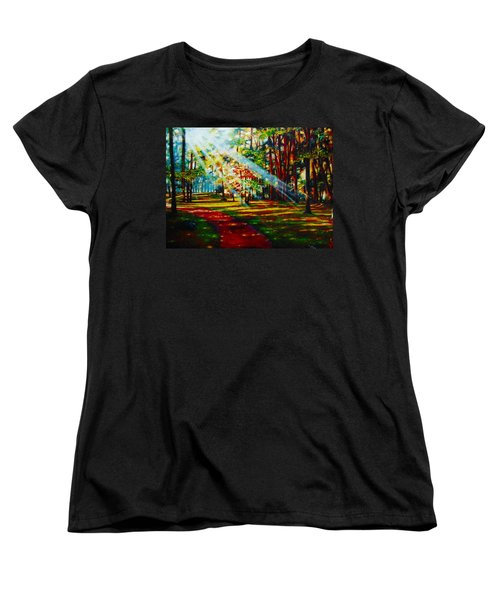 Women's T-Shirt (Standard Cut) featuring the painting Trails Of Light by Emery Franklin