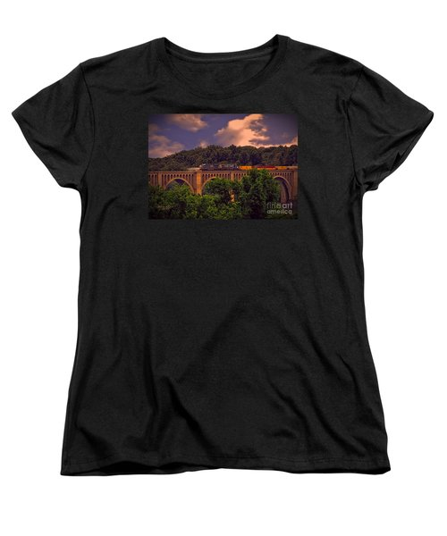 Women's T-Shirt (Standard Cut) featuring the photograph Train Trestle Over The James by Melissa Messick