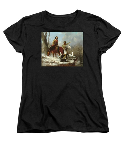 Women's T-Shirt (Standard Cut) featuring the painting Trappers             by Trego and Williams