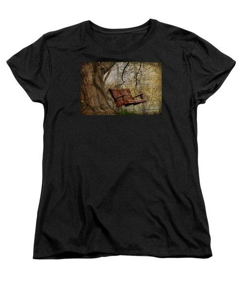 Tree Swing By The Lake Women's T-Shirt (Standard Cut) by Deborah Benoit