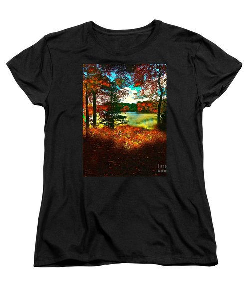 Trees And Shadows In New England Women's T-Shirt (Standard Cut) by Saundra Myles