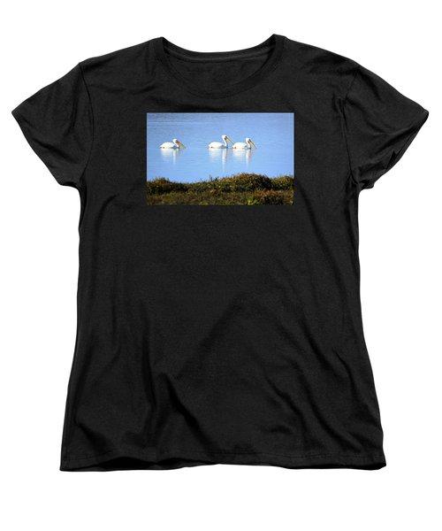 Women's T-Shirt (Standard Cut) featuring the photograph Tres Pelicanos Blancos by AJ Schibig