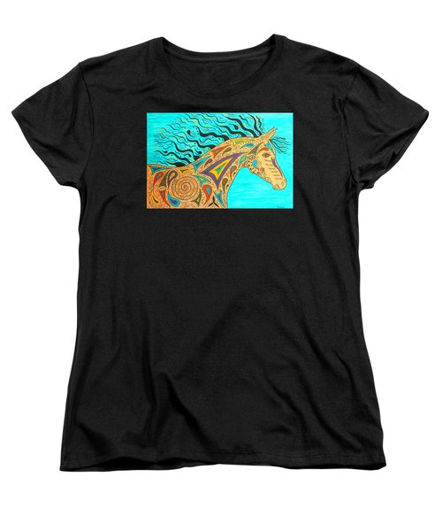 Tribal Carnival Spirit Horse Women's T-Shirt (Standard Cut) by Susie WEBER