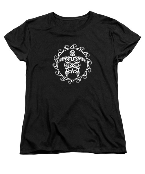 Tribal Maori Sun Turtle Women's T-Shirt (Standard Cut) by Chris MacDonald