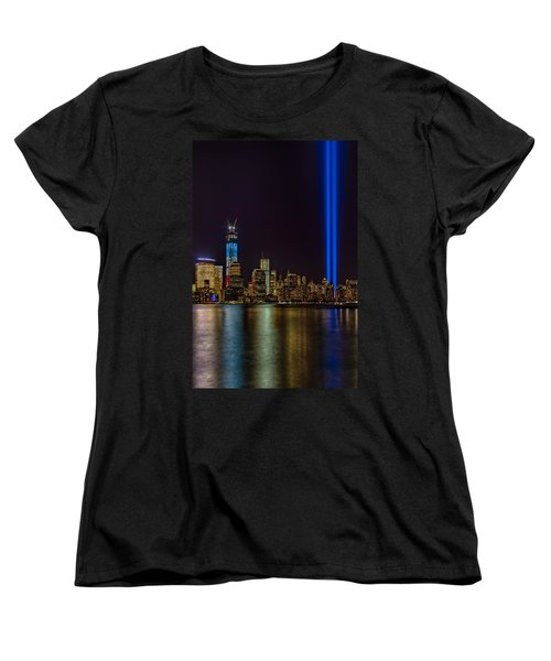 Tribute In Lights Memorial Women's T-Shirt (Standard Cut) by Susan Candelario