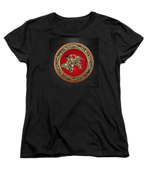 Tribute To Hokusai - Shoki Riding Lion  Women's T-Shirt (Standard Cut) by Serge Averbukh