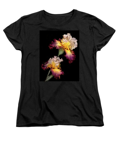 Tricolor Iris Pair Women's T-Shirt (Standard Cut) by Dave Mills