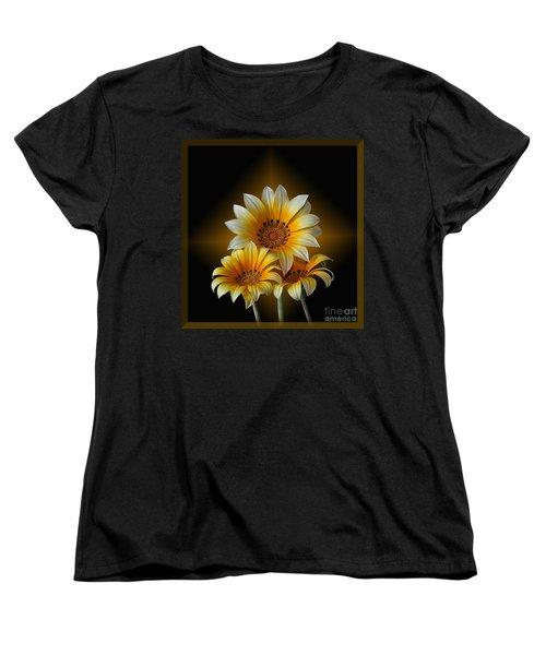 Triple Sunshine Black And Gold Women's T-Shirt (Standard Cut)