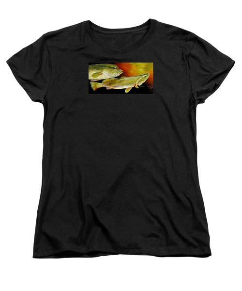 Women's T-Shirt (Standard Cut) featuring the painting Triple Trout by Phyllis Beiser