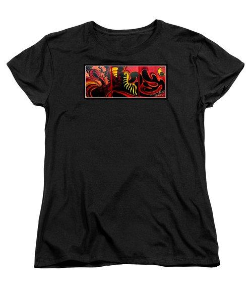 Women's T-Shirt (Standard Cut) featuring the painting Triptych Abstract Vision by Jolanta Anna Karolska
