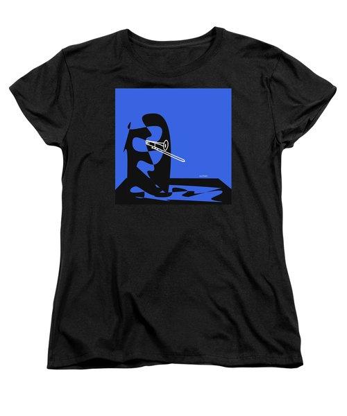 Trombone In Blue Women's T-Shirt (Standard Cut) by David Bridburg