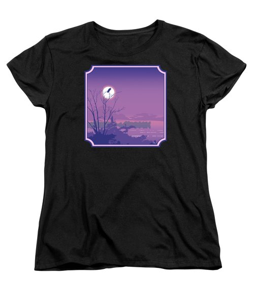 Tropical Birds Sunset Purple Abstract - Square Format Women's T-Shirt (Standard Fit)