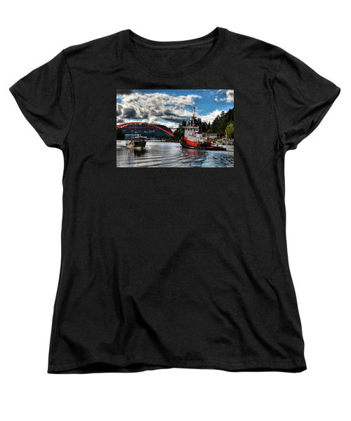 Tugboat At The Rainbow Bridge Women's T-Shirt (Standard Cut) by David Patterson