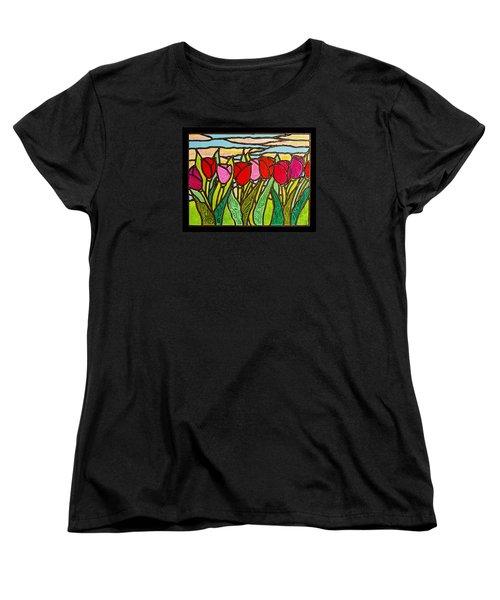 Tulips At Sunrise Women's T-Shirt (Standard Cut) by Jim Harris