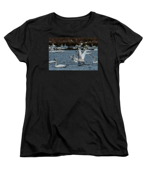 Tundra Swan And Liftoff Head Start Women's T-Shirt (Standard Cut)