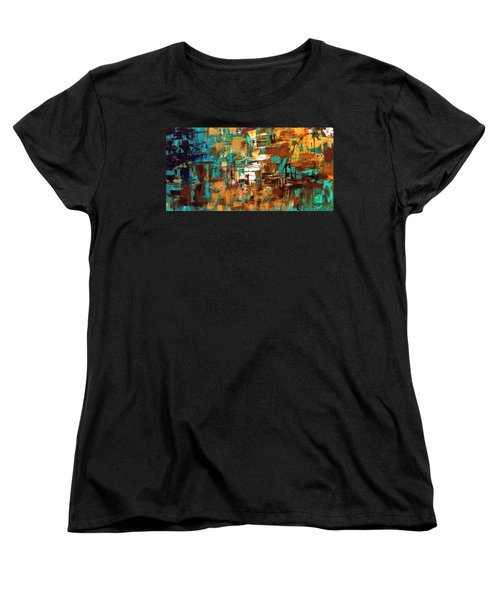 Women's T-Shirt (Standard Cut) featuring the painting Turquoise Scent by Carmen Guedez