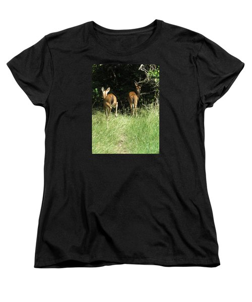 Women's T-Shirt (Standard Cut) featuring the photograph Twin Fawns by Phyllis Beiser