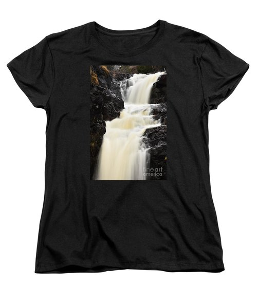 Women's T-Shirt (Standard Cut) featuring the photograph Two Island River Waterfall by Larry Ricker