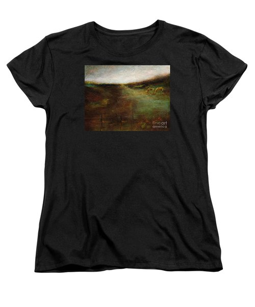 Women's T-Shirt (Standard Cut) featuring the painting Two Palominos by Frances Marino