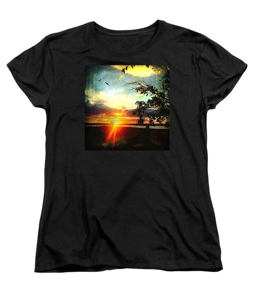 Two Souls Flying Off Into The Sunset  Women's T-Shirt (Standard Cut) by Debra Martz