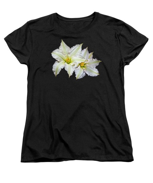 Two White Clematis Flowers On Black Women's T-Shirt (Standard Cut) by Jane McIlroy