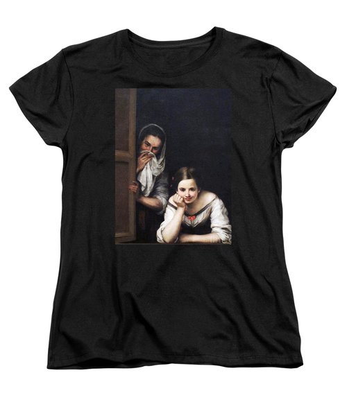 Women's T-Shirt (Standard Cut) featuring the painting Two Women At Window by Pg Reproductions