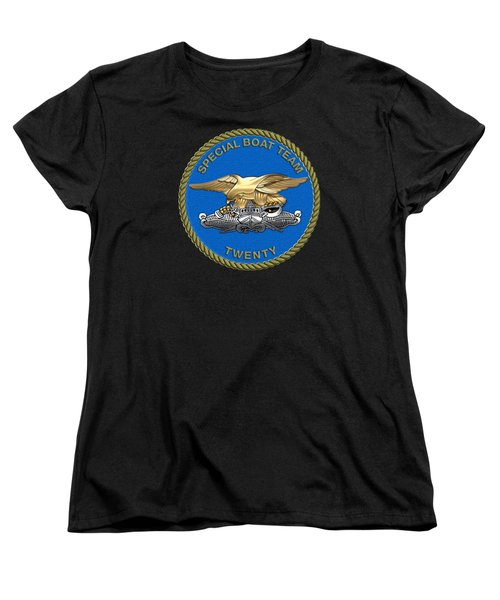 U. S. Navy S W C C - Special Boat Team 20   -  S B T 20   Patch Over Black Velvet Women's T-Shirt (Standard Cut) by Serge Averbukh