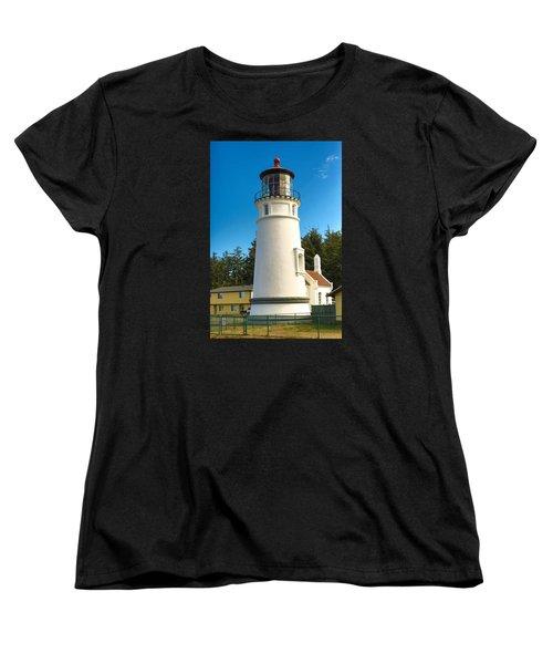 Women's T-Shirt (Standard Cut) featuring the tapestry - textile Umpqua River Lighthouse by Dennis Bucklin