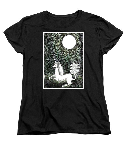 Unicorn In Moonlight Women's T-Shirt (Standard Cut) by Lise Winne