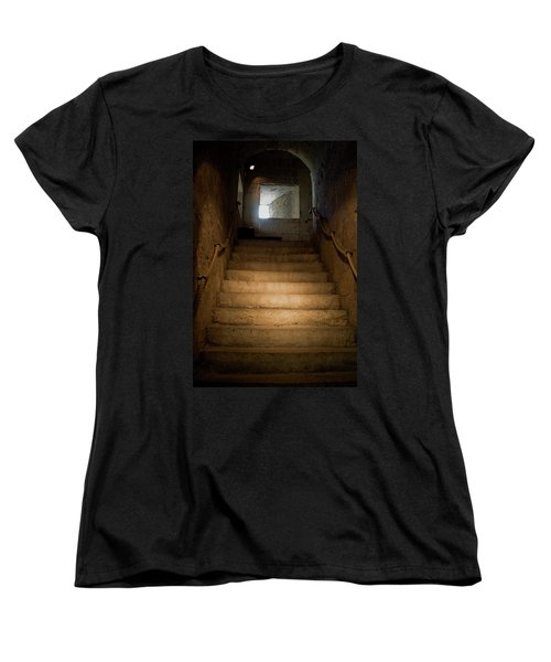Up The Ancient Stairs Women's T-Shirt (Standard Cut) by Lorraine Devon Wilke