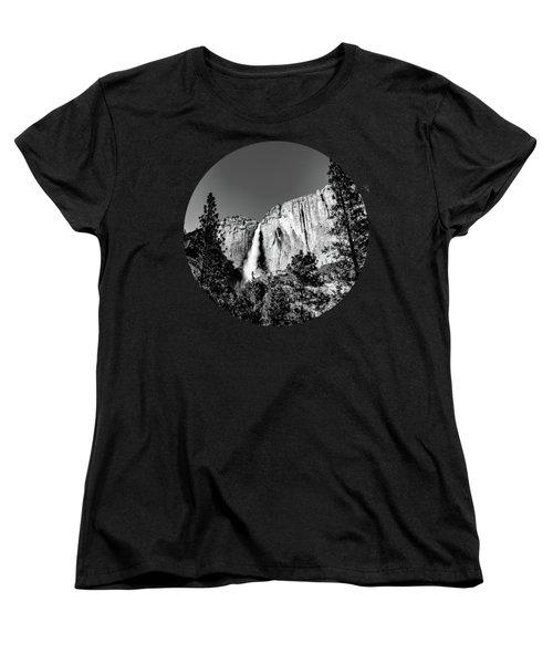 Upper Falls, Black And White Women's T-Shirt (Standard Cut) by Adam Morsa