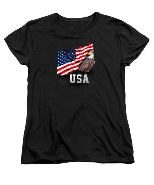 Usa Flag With Bald Eagle 4th Of July Women's T-Shirt (Standard Cut) by Carsten Reisinger