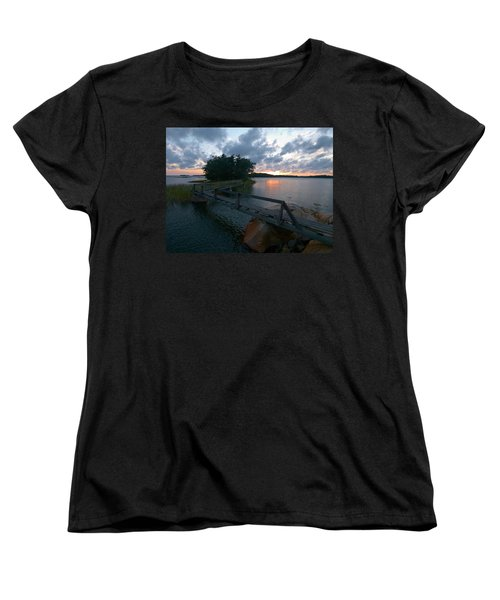 Women's T-Shirt (Standard Cut) featuring the photograph Variations Of Sunsets At Gulf Of Bothnia 6 by Jouko Lehto