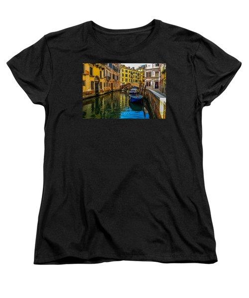 Venice Canal In Italy Women's T-Shirt (Standard Cut) by Marilyn Burton