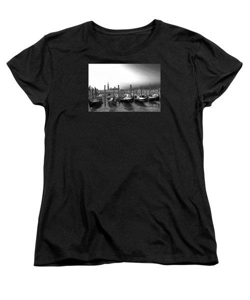 Venice Gondolas Black And White Women's T-Shirt (Standard Cut) by Rebecca Margraf