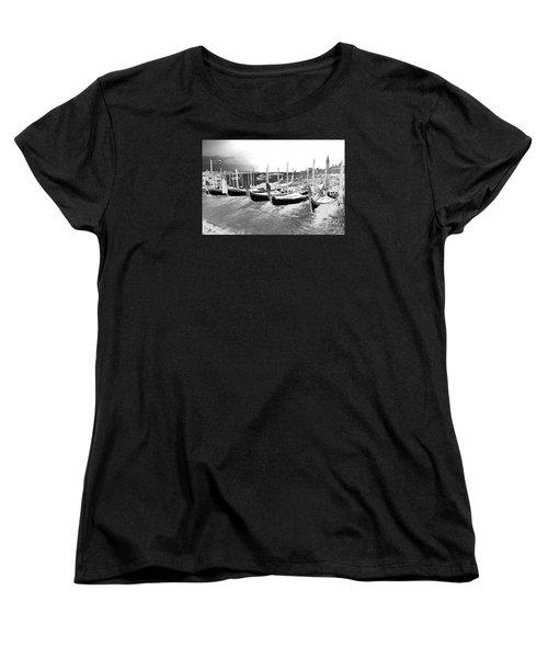 Venice Gondolas Silver Women's T-Shirt (Standard Cut) by Rebecca Margraf