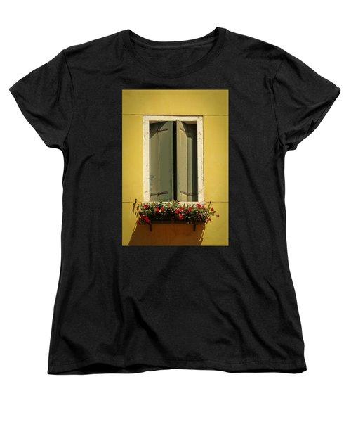 Venice Window In Green Women's T-Shirt (Standard Cut) by Kathleen Scanlan