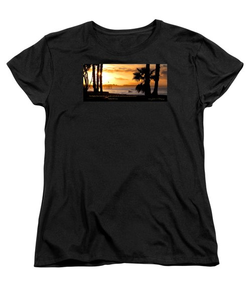 Women's T-Shirt (Standard Cut) featuring the photograph Ventura California Sunrise With Bible Verse by John A Rodriguez