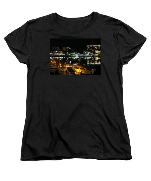 Victoria Inner Harbor At Night Women's T-Shirt (Standard Cut) by Betty Buller Whitehead