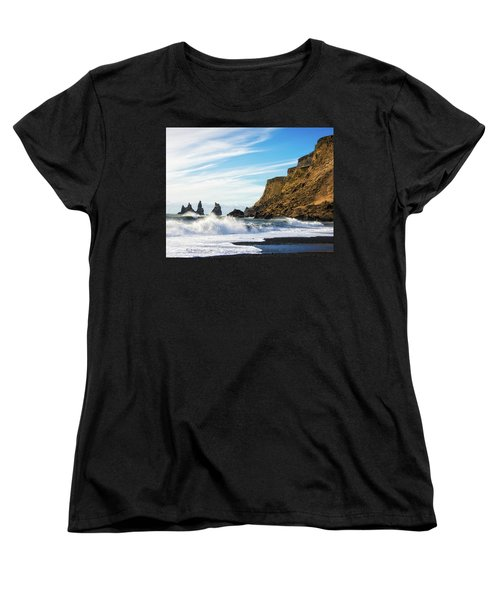 Women's T-Shirt (Standard Cut) featuring the photograph Vik Reynisdrangar Beach And Ocean Iceland by Matthias Hauser