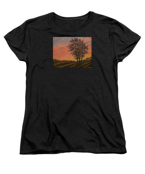 Women's T-Shirt (Standard Cut) featuring the painting Vineyard Sundown by Kathleen McDermott