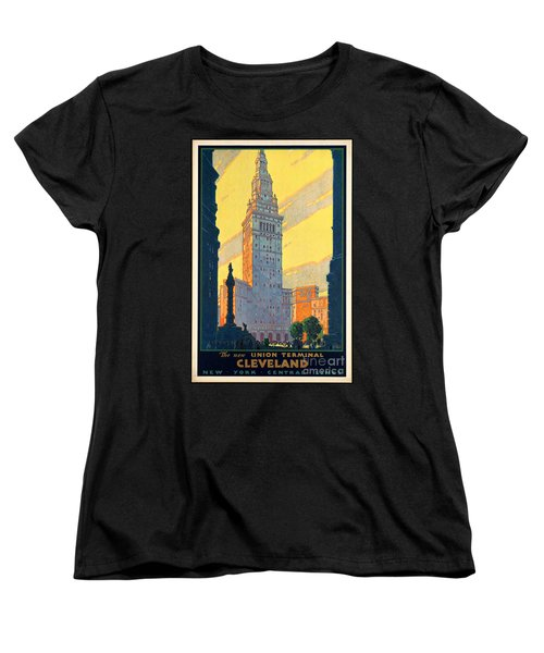 Vintage Cleveland Travel Poster Women's T-Shirt (Standard Cut) by George Pedro