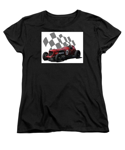 Women's T-Shirt (Standard Cut) featuring the photograph Vintage Racing Car And Flag 3 by John Colley