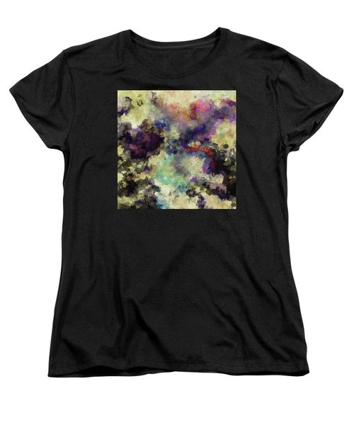Women's T-Shirt (Standard Cut) featuring the painting Violet Landscape Painting by Ayse Deniz