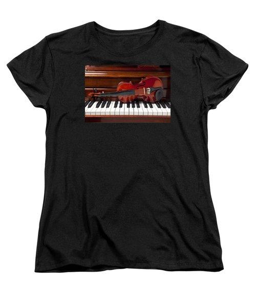 Violin On Piano Women's T-Shirt (Standard Cut) by Garry Gay